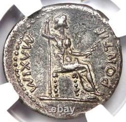 Ancient Roman Tiberius Ar Denarius Silver Coin 14-37 Ad Certifié Ngc Vf