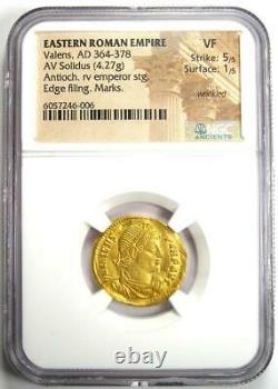 Ancient Roman Valens Av Solidus Gold Coin 364-378 Ad Certifié Ngc Vf