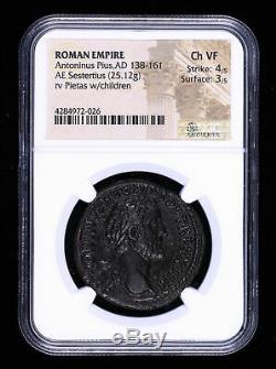 Antonin Le Pieux Sesterce 138 161 Ad Ancienne Pièce De Monnaie Romaine Pietas Enfants Ngc