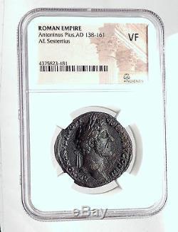 Antoninus Pius Avec Le Roi Armenien Sohemo Sestertius, Pièce De Monnaie Romaine Antique Ngc I59847