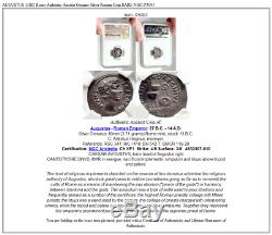 Auguste 13bc Rome Authentique Argent Ancienne Pièce De Monnaie Authentique Roman Rare Ngc I75093