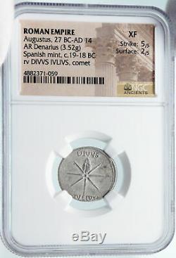 Auguste Ancien 19bc Déifié Jules Cesar Comet Argent Romaine Monnaie Ngc I85493