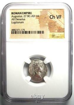 Auguste Ar Denarius Coin 15-13 Bc (lugdunum) Ngc Choix Vf (very Fine)