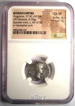 Auguste Ar Denarius Coin -27 14 Ad, Espagnol Monnaie Certifié Ngc Choix Vf