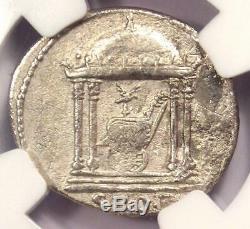 Auguste Ar Denarius Coin -27 14 Ad, Espagnol Monnaie Certifié Ngc Fin