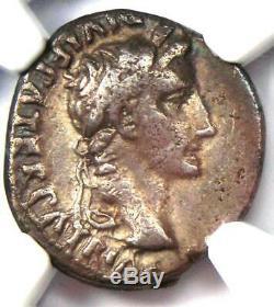 Auguste Ar Denarius Coin -27 14 Ad, Lugdunum Certifié Ngc Choix Vf