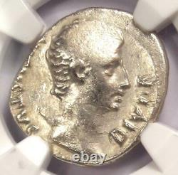 Auguste Ar Denarius Coin -27 14 Ad, Lugdunum Certifié Ngc Fin
