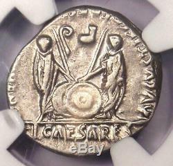 Auguste Ar Denarius Coin -27 14 Ad (lugdunum) Ngc Choix Vf (very Fine)
