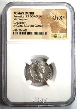 Auguste Ar Denarius Silver Coin 27 Bc 14 Ad (lugdunum) Xf Choix Ngc (ef)
