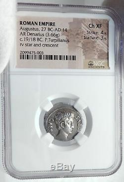 Auguste Auithentic Ancien 19bc Rome Argent Monnaie Romaine Crescent Star Ngc I81771