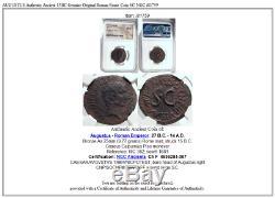 Auguste Authentique Ancien 15bc Véritable Original Rome Roman Coin Sc Ngc I81759