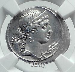Auguste Authentique Ancien Octavian 32bc Originale Argent Romaine Monnaie Ngc I81445