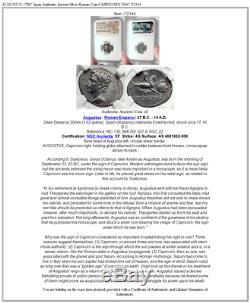 Augustus 17bc Espagne Authentique Monnaie Romaine En Argent Antique Capricorn Ngc I72344