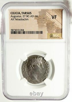 Augustus 1bc Authentic Ancien Argent Roman Tetradrachm Coin Tarsus Ngc I84973