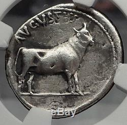 Augustus 27bc Bull - Pièce De Denarius Romains En Argent Ancien Certifié Ngc Ngc I59866