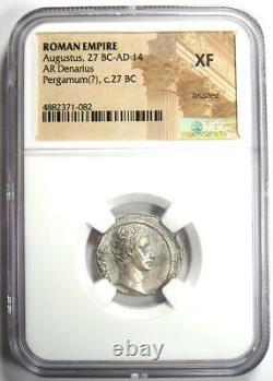 Augustus Ar Denarius Bull Coin 27 Av. J.-c. 14 Ad (pergamum). Certifié Ngc Xf (ef)