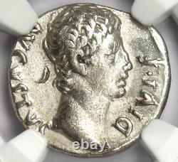 Augustus Ar Denarius Coin 15-13 Av. J.-c. (lugdunum, Bull) Ngc Choice Vf (very Fine)