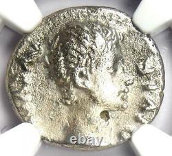 Augustus Ar Denarius Coin 15-13 Av. J.-c. (lugdunum) Certifié Ngc Vf (très Bon)