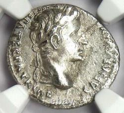 Augustus Ar Denarius Coin 15-13 Av. J.-c. (lugdunum) Ngc Choice Vf (très Fine)