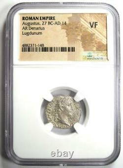 Augustus Ar Denarius Coin 27 Av. J.-c. - 14 Ad (lugdunum) Certifié Ngc Vf (très Fin)
