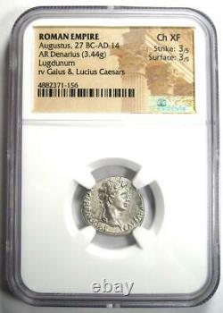 Augustus Ar Denarius Coin 27 Av. J.-c. 14 Après Jc (lugdunum). Certifié Ngc Choice Xf (ef)