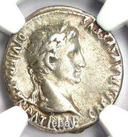 Augustus Ar Denarius Coin 27 Av. J.-c. 14 Après Jc (lugdunum) Ngc Choice Vf (very Fine)
