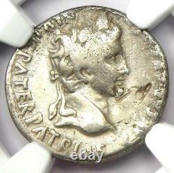 Augustus Ar Denarius Coin 27 Bc 14 Ad (lugdunum Mint) Amende Certifiée Ngc