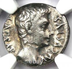 Augustus Ar Denarius Coin 27 Bc 14 Ad (mint Espagnol) Certifié Ngc Vf