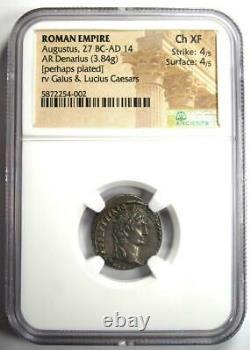 Augustus Ar Denarius Pièce 27 Av. J.-c. 14 A Déclaré (lugdunum). Certifié Ngc Choice Xf (ef)