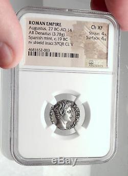 Augustus Authentique Pièce De Monnaie Romaine En Argent Antique 19bc Retour Des Normes Ngc I72341
