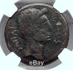 Augustus & Divus Julius Caesar 38bc Monnaie Romaine Ancienne Sestertius Ngc I60214