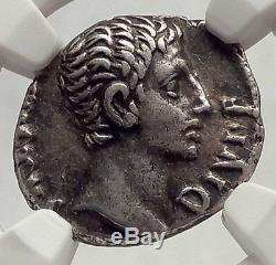 Augustus Rare 12bc Authentique Monnaie Romaine Ancienne En Argent Antique Capricorne Ngc Xf I62473