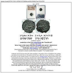 Authentique Vieille Guerre Jewish Vs Romains 67ad Historique Jerusalem Pièce Ngc I84786