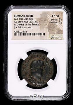 Balbinus 238 Ad Sestertius Ancien Empire Romain Pièce Génie Du Sénat Ngc