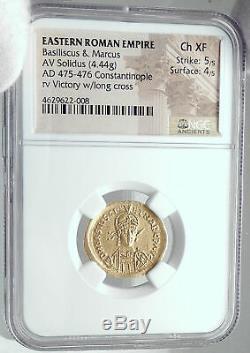 Basilisque & Marcus Authentique Ancien 475ad Gold Roman Pièce Rare Ngc I81520