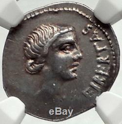 Brutus Assassin De Julius Caesar Rare 42bc Antique Monnaie En Argent Antique Ngc I68163