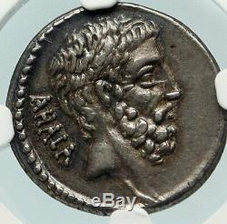 Brutus Jules César Assassin Ancêtres République Romaine Argent Monnaie Ngc I84772