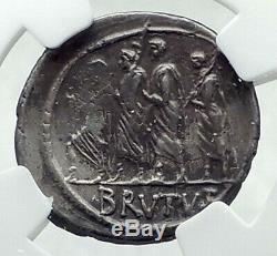 Brutus Julius Caesar Assassin 54bc Pièce D'argent De La République Romaine En Argent Antique I79206