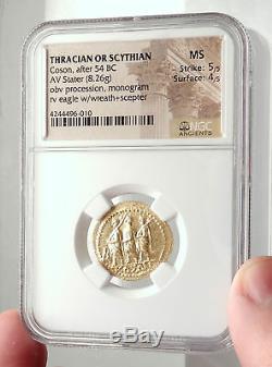 Brutus Julius Caesar Assassin Romain 44bc Pièce D'or Grec Antique Ngc Ms I71697