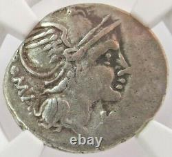 C. 109/8 Bc République Romaine D'argent L. Flaminius Chilo Denarius Pièce Ngc Très Fine