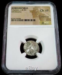 C. 46 Avant J.-c. En Argent République Romaine T. Carisius Denarius Coin Choix Ngc Très Fine