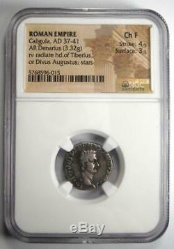 Caligula Ar Denarius Argent Monnaie 37-41 Ad Certifié Ngc Choix Fin