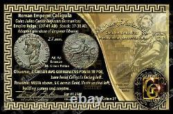 Caligula Empereur Coin / Roman / Vesta Seated 37-41 Ad / Ae Comme + Coa / Ngc Vérifié