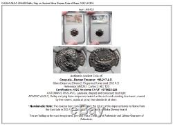 Caracalla 202ad Galère Sur Une Pièce De Monnaie Romaine En Argent Argenté De Rome Ngc I60192