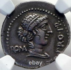 Cato Uticensis Ennemi De Jules César 47bc Argent Roman Hero Coin Ngc I82712