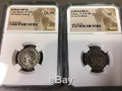 Coins Romaines Collection Argent Et Bronze Trajan Ad 249 Ngc Très Fin