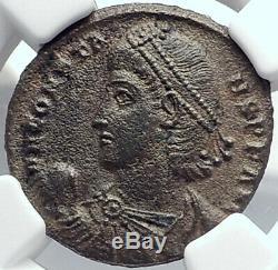Constans Authentique Romaine Ancienne Pièce De Monnaie D'antioche 348ad Soldat Barbare I82222