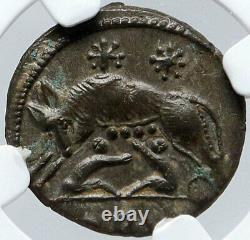 Constantine I Le Grand 330ad Romulus Remus Wolf Ancient Roman Coin Ngc I85672