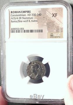 Constantine I Le Grand 330ad Romulus Remus Wolf Antique Romaine Monnaie Ngc I69161