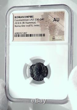 Constantine I Le Grand 330ad Romulus Remus Wolf Antique Romaine Monnaie Ngc I81123